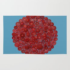 Red on Blue Rug
