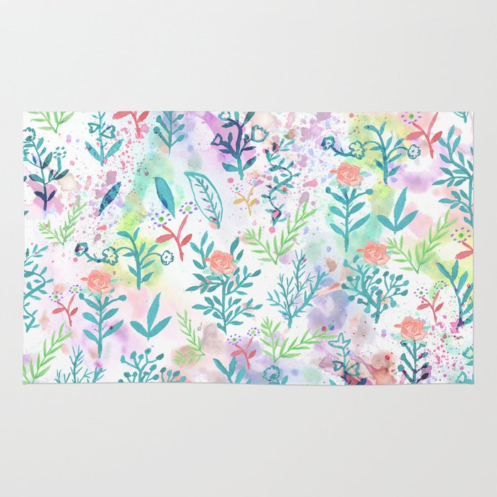 Hand Drawn Coral Pink Green Watercolor Floral Rug By Pink