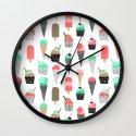 Ice Cream - Summer fresh modern minimal print pattern design gifts for college  Wall Clock