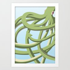 Octopus green Art Print