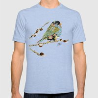 Cafe Swirly Bird 4 Mens Fitted Tee Tri-Blue SMALL