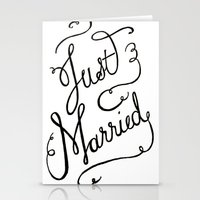 Just Married - Hand Lett… Stationery Cards