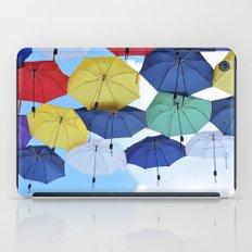 many colorful hanged umbrella against blue sky iPad Case