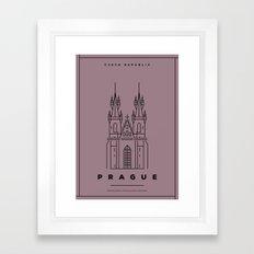 Minimal Prague City Poster Framed Art Print