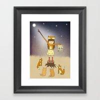 Little Fox Girl Framed Art Print