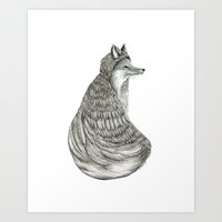 Fox- Feathered. Art Print