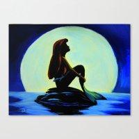 Mermaid In The Moonlight Canvas Print