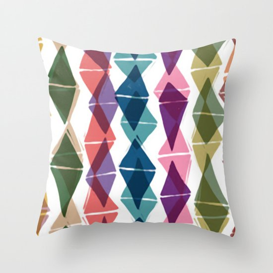 Collage and Digital Diamonds Pattern print Throw Pillow