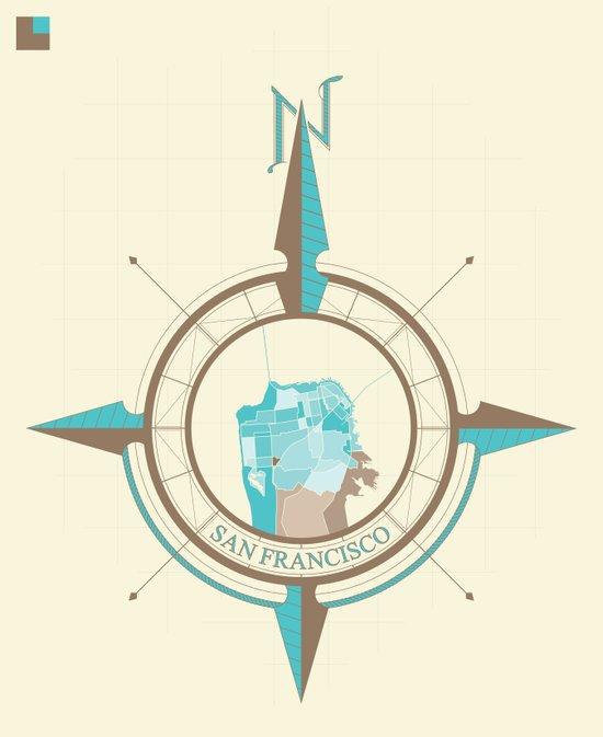 Compass Map Series: San Francisco Art Print