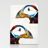 Colorful Puffin Art By S… Stationery Cards