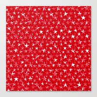 White stars abstract on bold red background illustration Canvas Print
