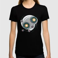 Spinning worlds Womens Fitted Tee Black SMALL