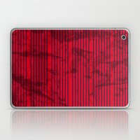 Grunge Blue stripes on bold red background illustration. Laptop & iPad Skin