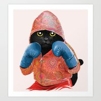Boxing Cat 2  Art Print