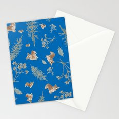 blue holiday corgis and twigs Stationery Cards