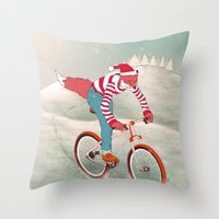 rushing home for christmas Throw Pillow
