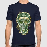 Brainz Zombie Print Mens Fitted Tee Navy SMALL