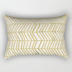 Gold Herringbone Rectangular Pillow