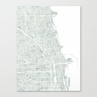 Map Chicago City Waterco… Canvas Print