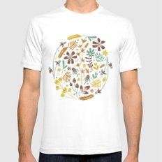 Autumn Blooms SMALL Mens Fitted Tee White