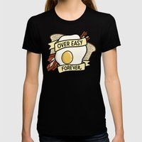 Over Easy Forever Womens Fitted Tee Black SMALL