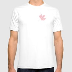 Horse Chestnut leaf and conker pale pink pattern SMALL White Mens Fitted Tee