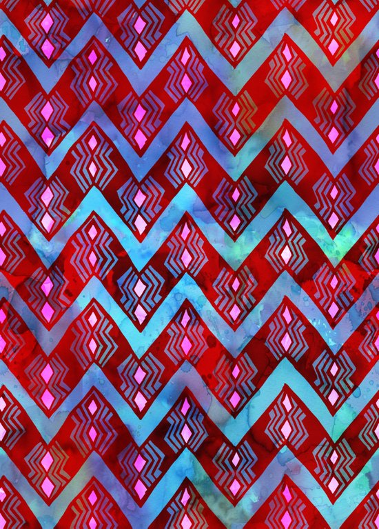 Diamond Chevron - RED Art Print