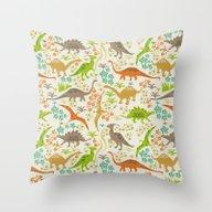 Dinosaur Garden Throw Pillow