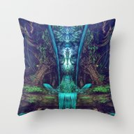 Waters Fall - Fractal Ma… Throw Pillow