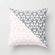 Black and Pink Crop Symmetry Throw Pillow