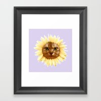 Sunflower cat Framed Art Print
