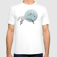 white horse White SMALL Mens Fitted Tee