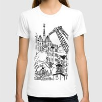 Three City Silhouettes Womens Fitted Tee White SMALL