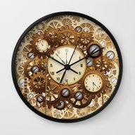 Wall Clock featuring Steampunk Vintage Style … by BluedarkArt