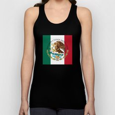 Flag of Mexico (augmented scale) with Coat of Arms (overlaid) Unisex Tank Top