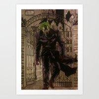 joker Art Prints featuring joker by DeMoose_Art