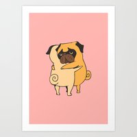 Pug Hugs Art Print