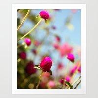 Hot Pink Puffs Art Print