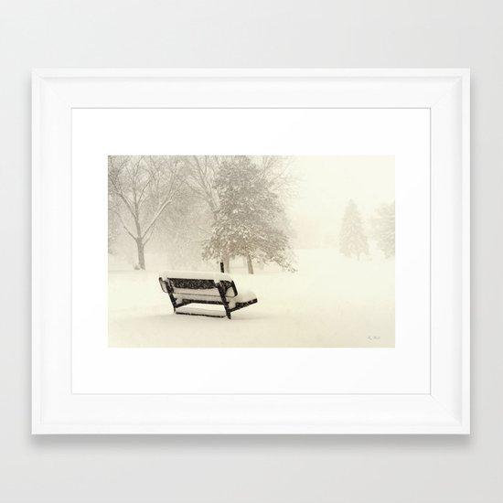 Snowy Seat Framed Art Print