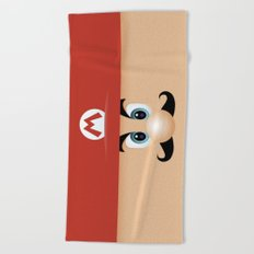 Mario With Cool Mustache Beach Towel