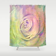 Shower Curtain featuring Painterly Pastel Rose Ab… by Judy Palkimas