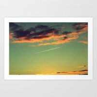 Sunset and Airplanes Art Print