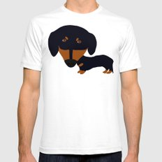 Dachshund (black and tan) White SMALL Mens Fitted Tee