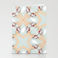 Tea and Cat Pattern Stationery Cards