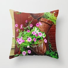 Potted Petunias Throw Pillow