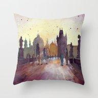 Prague, Watercolor Explo… Throw Pillow