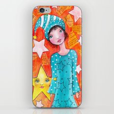 Whimsy Girl with Orange Background iPhone & iPod Skin