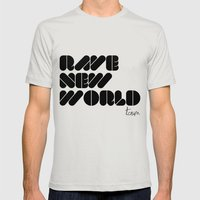 RAVE NEW WORLD Mens Fitted Tee Silver SMALL