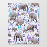 Sweet Elephants in Aqua, Purple, Cream and Grey Canvas Print