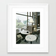 Cafe With A View Of The Castle Framed Art Print